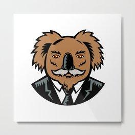 Koala With Moustache Woodcut Color Metal Print