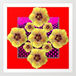 RED GRAPHIC YELLOW FLOWERS PATTERN DRAWING Art Print