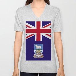 Falkland Islands flag emblem Unisex V-Neck