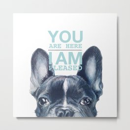 French Bulldog with love note, Dog illustration original painting print Metal Print