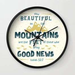 """""""How Beautiful on the Mountains"""" Hand-Lettered Bible Verse Wall Clock"""
