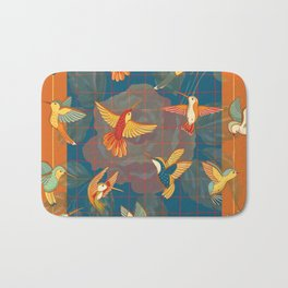Hummingbirds in Orange Bath Mat