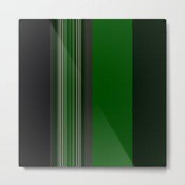 Dark Bold Green Stripes Metal Print