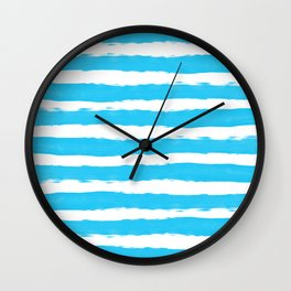 Simple aqua and white handrawn stripes - horizontal - for your summer on #Society6 Wall Clock