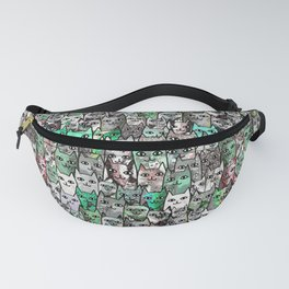 Forest Cats Green Watercolor Fanny Pack