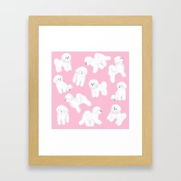 Bichon Frise Pattern (Pink Background) Framed Art Print