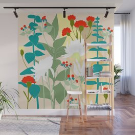 Illustration, modern flowers, bold colors,red, turquoise, white,green. Wall Mural