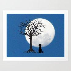 black cat and moon Art Print