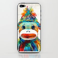 Sock Monkey Art - Your New Best Friend - By Sharon Cummings iPhone & iPod Skin