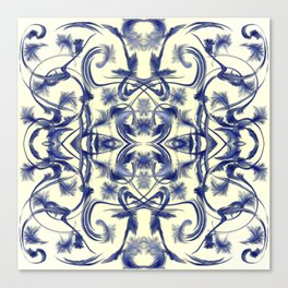 blue and white Digital pattern with circles and fractals artfully colored design for house Canvas Print
