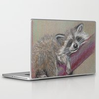 racoon Laptop & iPad Skins featuring Racoon sleeping by Pendientera