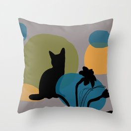 Abstract Daffodils Flower and black cat Throw Pillow