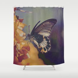 Black And White Butterfly On Red Flower I Shower Curtain