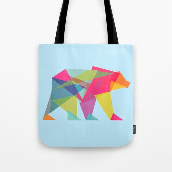 Fractal Bear - neon colorways Tote Bag