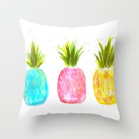 pineapples Throw Pillows featuring Pineapples  by Melanie Dorsey Designs