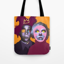 JM Basquiat and Andy, POP art style, digitally painted Tote Bag