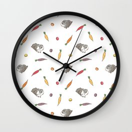 Carrot and Silkie Guinea Pig pattern in White Background Silkie Guinea Pigs illustration Wall Clock