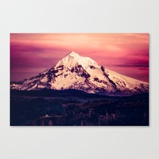 Forest Mountains - Mt Hood Snow Clouds Mountain and Trees Canvas Print