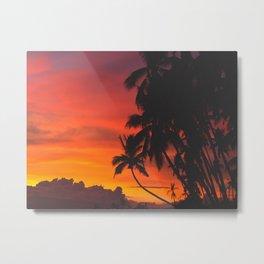 Tropical Palm Tree Sunset Silhouette Orange Red Yellow Metal Print