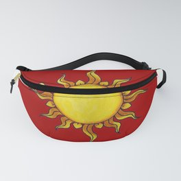 Sun Watercolor Painting on Red Background Design Fanny Pack