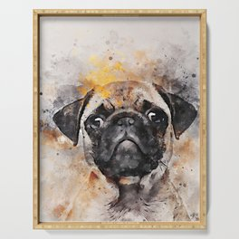 Pug Puppy Using Watercolor On Raw Canvas Serving Tray