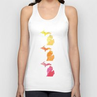 michigan Tank Tops featuring Michigan by Aubrey Kemme Design