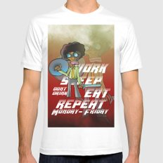 work, sleep, eat, repeat Mens Fitted Tee White SMALL