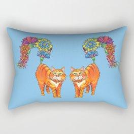 Classy Cat Chloe (Blue) Rectangular Pillow