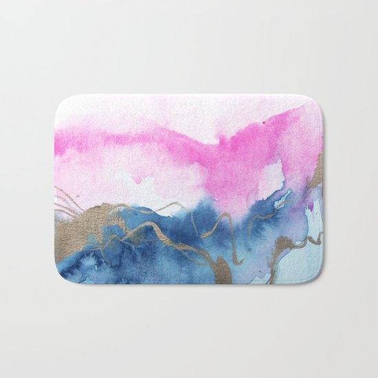 Abstract Watercolor Pink Blue Bath Mat