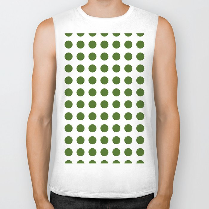 Simply Polka Dots in Jungle Green Biker Tank