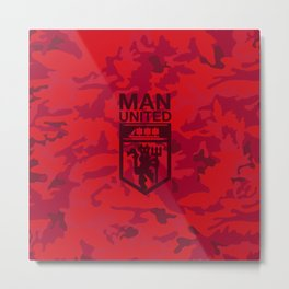 Manchester United Pattern Metal Print