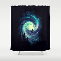 adventure Shower Curtains featuring Adventure Awaits by nicebleed