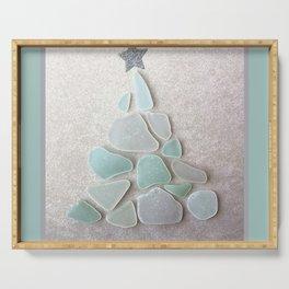 Sea Foam Sea Glass Christmas Tree #Christmas #seaglass Serving Tray