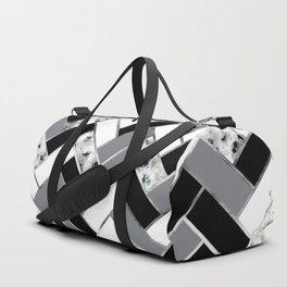 Shuffled Marble Herringbone - Black/White/Gray/Silver Duffle Bag