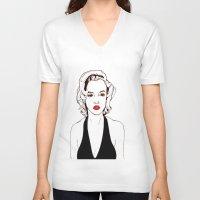 monroe V-neck T-shirts featuring Monroe by Shahbab