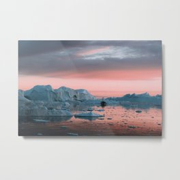 Boat in front of arctic icebergs during sunset Metal Print