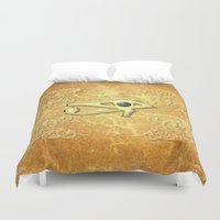 all seeing eye Duvet Covers featuring The all seeing eye by nicky2342
