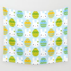 Kawaii Easter Bunny & Eggs Wall Tapestry