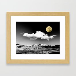 Black Desert Sky & Golden Moon // Red Rock Canyon Las Vegas Mojave Lune Celestial Mountain Range Framed Art Print