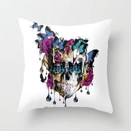 Flomo Butterfly Skull Throw Pillow