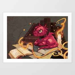The Dragon Library Art Print