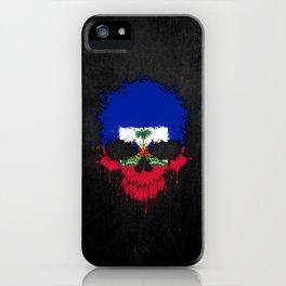Flag of Haiti on a Chaotic Splatter Skull iPhone Case