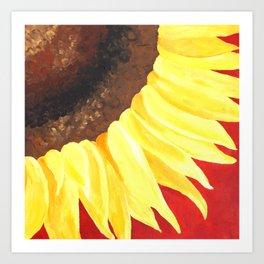 Sunflower on Red #2 Art Print