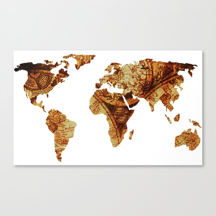 Antique Map of the World Continents Canvas Print