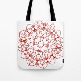 simple red lines mandala art Tote Bag