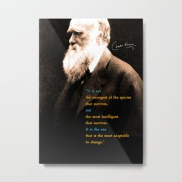 Charles Darwin Inspirational Quote Metal Print