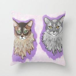Somali Cats Leo And Vikki Throw Pillow
