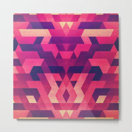 Abstract symmetric geometric triangle texture pattern design in diabolic future red Metal Print