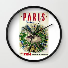 TWA Trans World Airlines Vintage Fly to Paris Advertising Wall Clock