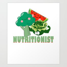 Cute Fruit & Vegetables Professional Nutritionist Art Print